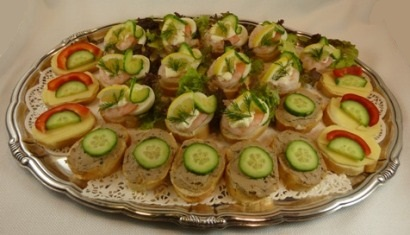 Shrimp, pate, and cheese canapes.