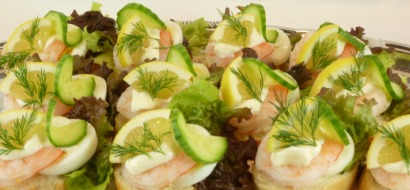 Swedish shrimp canapes.