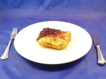 Swedish Pasta Bake called Makaronipudding served with Lingonberry jam.